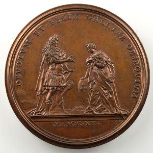 Ferdinand de Saint-Urbain   Médaille en bronze  44mm   Philippe d'Orléans - Avènement du Duc d'Orléans à la Régence 1715 - seconde légende    SUP/FDC