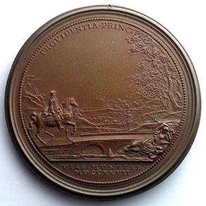 Numismatic foto  Coins Coins of Lorraine Medals Léopold I   (1690-1729) Ferdinand de SAINT-URBAIN   Reconstruction des Ponts   1727   bronze   63mm    TTB+/SUP percée