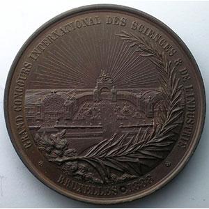 FISCH A.   Grand concours international des Sciences & de l'Industrie   Léopold II   bronze   63mm    SUP