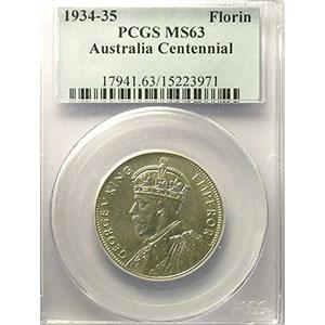 Florin   Centenary Victoria Melbourne 1934-35   ND (1934)   PCGS-MS63    pr.FDC