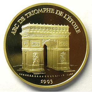 G.12   70 Ecus/500 Fr. Arc de triomphe   1993   17 g - or 920 mill.    BE