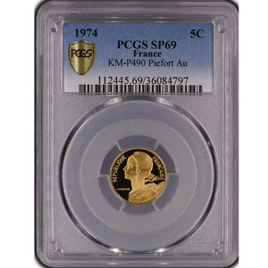 G.174P   5 Centimes   1974 or    PCGS-SP69    FDC