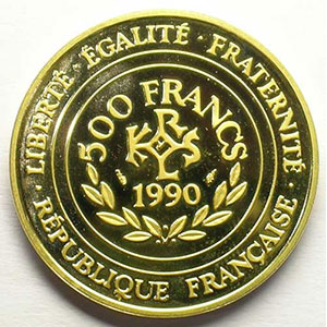 G.3   70 Ecus/500 Fr. Charlemagne   1990  17 g - or 920 mill.    BE