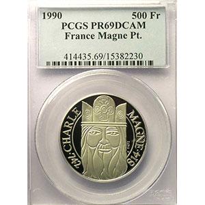 G.3   70 Ecus/500 Fr. Charlemagne   1990   20 g - Platine 999,5 mill.    PCGS-PR69DCAM    BE