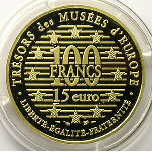 G.34   15 euro/100 Francs   Elephant, Epoque Shang   1996   17g or 920 mill.    BE