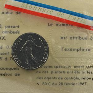 G.429P   1/2 Franc   1965  Piéfort en nickel    FDC