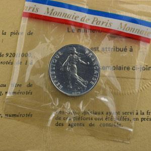 G.429P   1/2 Franc   1976  Piéfort en argent    FDC