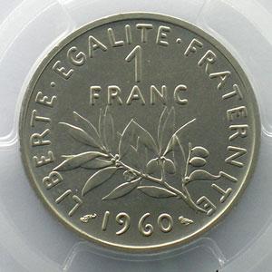 G.474P   1 Franc   1960  Piéfort en nickel    PCGS-SP68    FDC