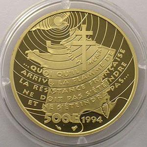 G.5   500 Francs   De Gaulle / Appel du 18 juin 1940   1994    BE