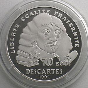 G.5   70 Ecus/500 Fr. Descartes   1991   20 g - Platine 999,5 mill.    BE