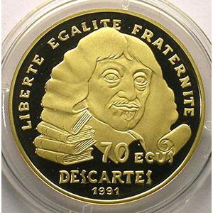 G.5   70 Ecus/500 Fr. René Descartes   1991   17 g - or 920 mill.    BE