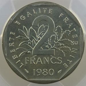 G.546P   2 Francs   1980  Piéfort en argent    PCGS-SP67    FDC