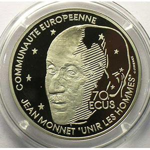G.7   70 Ecus/500 Fr. Jean Monnet   1992   20 g - Platine 999,5 mill.    BE