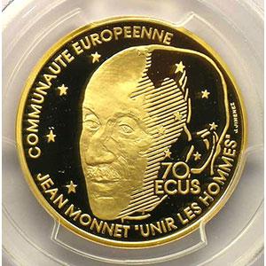 G.7   70 Ecus/500 Fr. Jean Monnet   1992    PCGS-PR68DCAM   BE