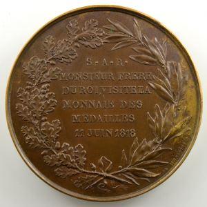 GATTEAUX   Charles Phil. de France, Monsieur frère du Roi, visite la Monnaie   11 juin 1818   bronze 50 mm    SUP/FDC