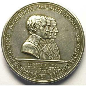 GATTEAUX   Colonne du Département de la Seine   An VIII (1800)   argent   60 mm    TTB+