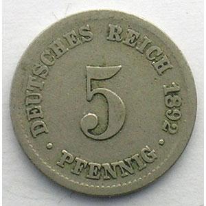GDM 16   5 Pfennig   1892 J    B/TB
