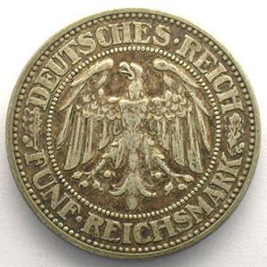 GDM 25   5 Reichsmark   1927 J   Eichbaum    TTB