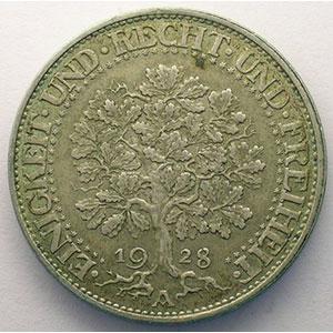 GDM 25   5 Reichsmark   1928 A   Eichbaum    TTB