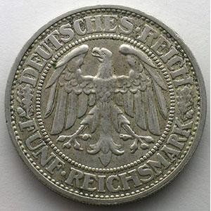 GDM 25   5 Reichsmark   1932 D   Eichbaum    TTB