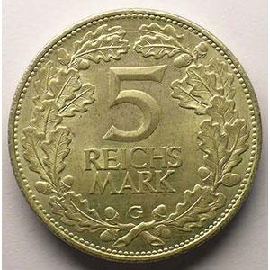 GDM 60   5 Reichsmark   1925 G   Rheinlande    TTB+
