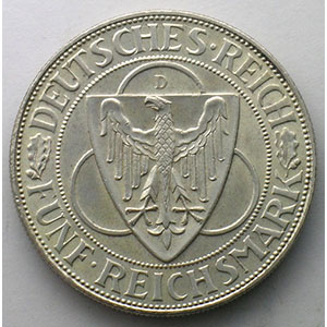 GDM 67   5 Reichsmark   1930 D   Rheinlandraümung    SUP