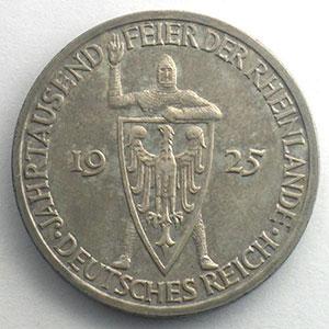GDM 73   3 Reichsmark   1925 F   Rheinlande    TTB+