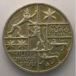 GDM 78   3 Reichsmark  Philipps Universitaet Marburg 1527-1927    TTB+