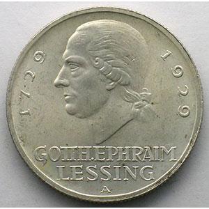 GDM 82   3 Reichsmark   1929 A   Gotthold Ephraim Lessing    SUP