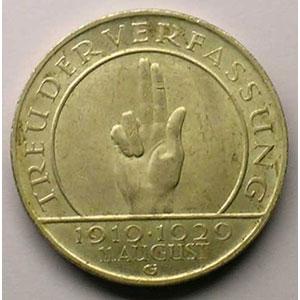 GDM 85   3 Reichsmark   1929 G   (10° anniversaire de la constitution de Weimar)    TTB