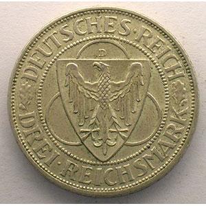 GDM 88   3 Reichsmark   1930 D   Rheinlandraümung    TTB