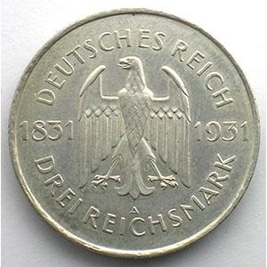 GDM 90   3 Reichsmark   1931 A   Stein    TTB