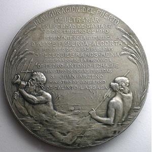 GOTTUZZO   Inauguration du Port de Santa Fé   2 févier 1910   argent   74mm    TTB+