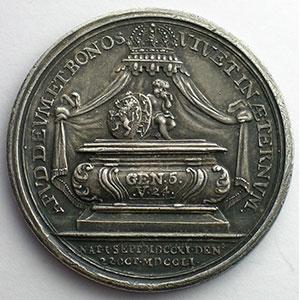 HOLTZHEY   Médaille en argent   41mm   Mort de Guillaume IV de Orange-Nassau le 22 oct. 1751    SUP