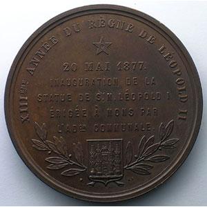 Inauguration de la Statue de Léopold I à Mons   20 mai 1877   bronze   56,5mm    SUP