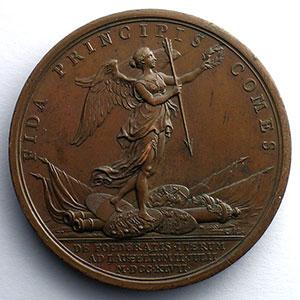 J.Duvivier/F.Marteau   Bataille de Lawfeldt   bronze   1747   41,5mm    SUP/FDC