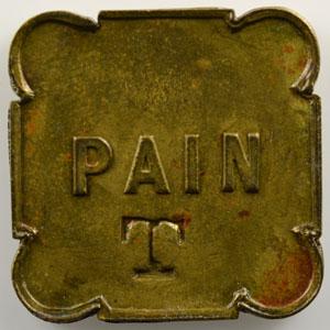 Jeton carré aux coins arrondis en laiton   23mm   PAIN contremarqué T    TTB+