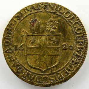 Jeton de cuivre   28mm   Nicolas Coefeteau, administrateur de l'évêché   1620    TTB+