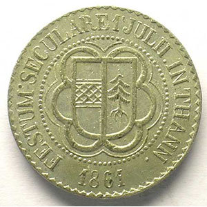 Jeton du 7° centenaire de la ville   1161-1861   étain  25mm    TTB/TTB+