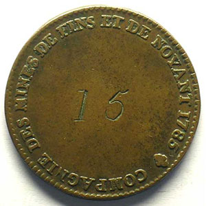 jeton en cuivre   30,5mm   Louis XVI   1785    TB+