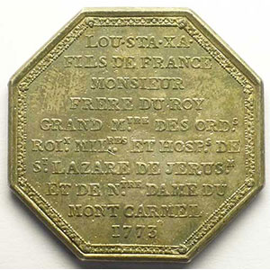 Jeton octogonal en argent   1773    TTB