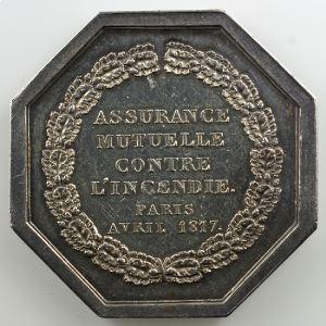 Jeton octogonal en argent   1817   Incendie    TTB/TTB+