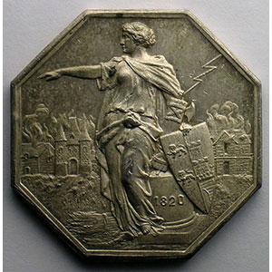 Jeton octogonal en argent   1820   Incendie    TTB+/SUP