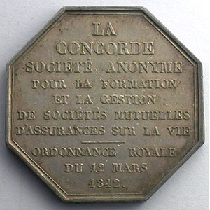 Jeton octogonal en argent   1842   Vie    TTB+