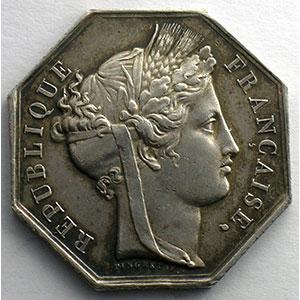 Jeton octogonal en argent   1848    TTB+