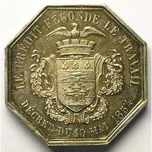 Jeton octogonal en argent   1854    SUP