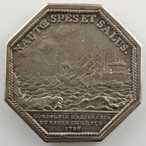 Jeton octogonal en argent  33mm   Maritime   Louis XVI   1786    TTB