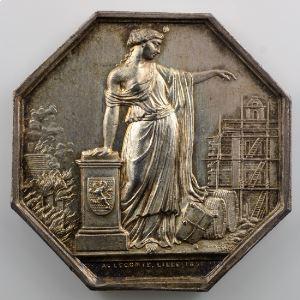 Jeton octogonal en argent   34mm   Lille   1851   Incendie    SUP/FDC