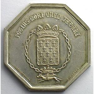 Jeton octogonal en argent   34mm   Nantes   1842   Incendie    SUP/FDC