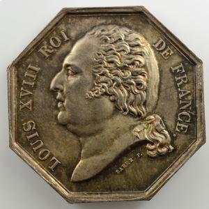 Jeton octogonal en argent   35mm   Louis XVIII   Incendie   1818    FDC